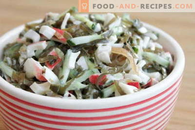 Zeewiersalade met ei - vijf beste recepten. Heerlijke salade koken met zeekool en ei.