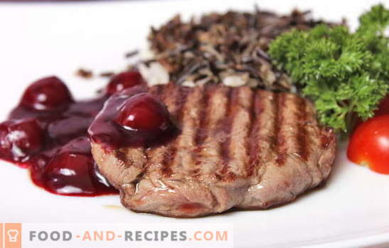 Vlees met kersen - op tafel is niet overbodig! Vleesrecepten met kersen: in een koekenpan, huls, folie, onder een gebakken ham en in kleine stukjes