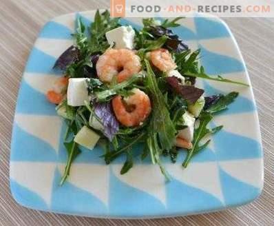 Salades met garnalen en rucola