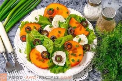 Salade met mozzarella en persimmon