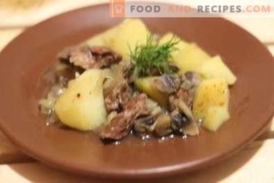 Пилешки дробчета с картофи и гъби в бавен котлон