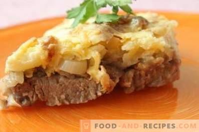 Vlees met kaas en mayonaise in de oven
