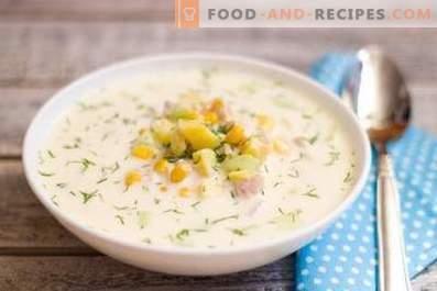 Okroshka op water met mayonaise