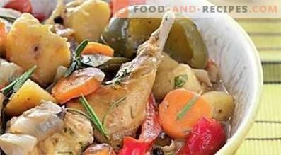 Konijn gestoofd met groenten in een slow cooker