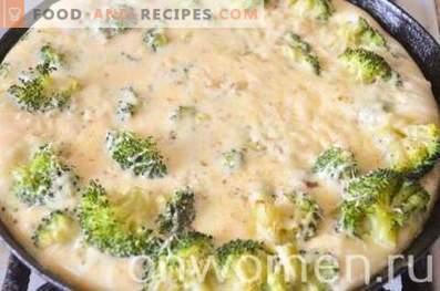 Omelett mit Broccoli und Käse im Ofen