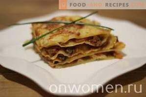 Lasagne met gehakt en champignons