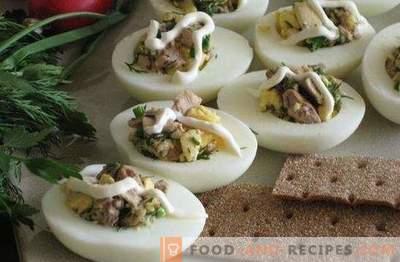 Eieren gevuld met kabeljauwlever - de originele snack. Recepten voor eieren gevuld met kabeljauwlever