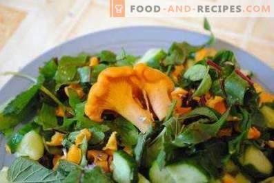 Salades met cantharellen