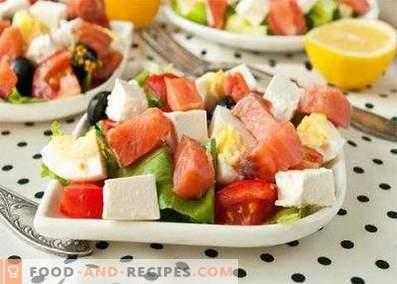 Salade van zoute roze zalm