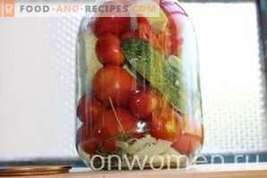 Assortiment voor de winter van komkommers en tomaten en paprika's en courgette