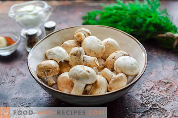 Kebab van champignons op de grill of in de oven. Je zult vlees vergeten