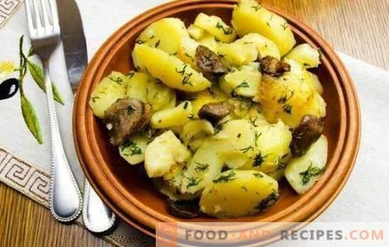 Aardappelen met champignons in een slowcooker zijn beter dan in een koekenpan. Aardappelen met champignons in een slowcooker: gebakken, gestoofd, gebakken